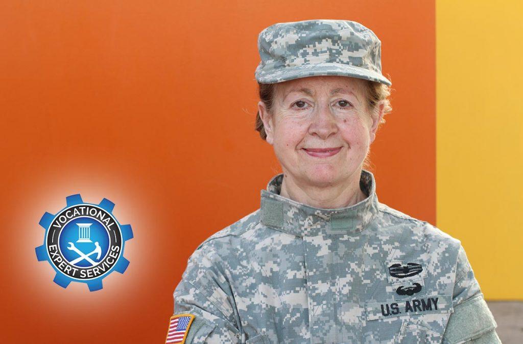 US Army Veteran woman in uniform smiling