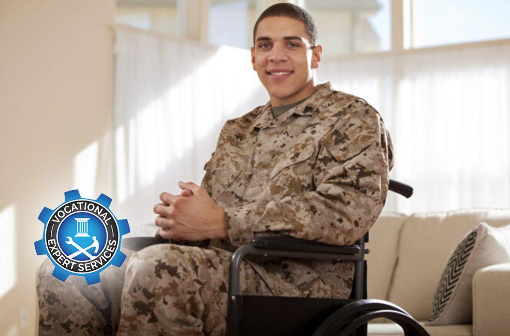 Disabled Veteran US Marine Soldier in Wheelchair